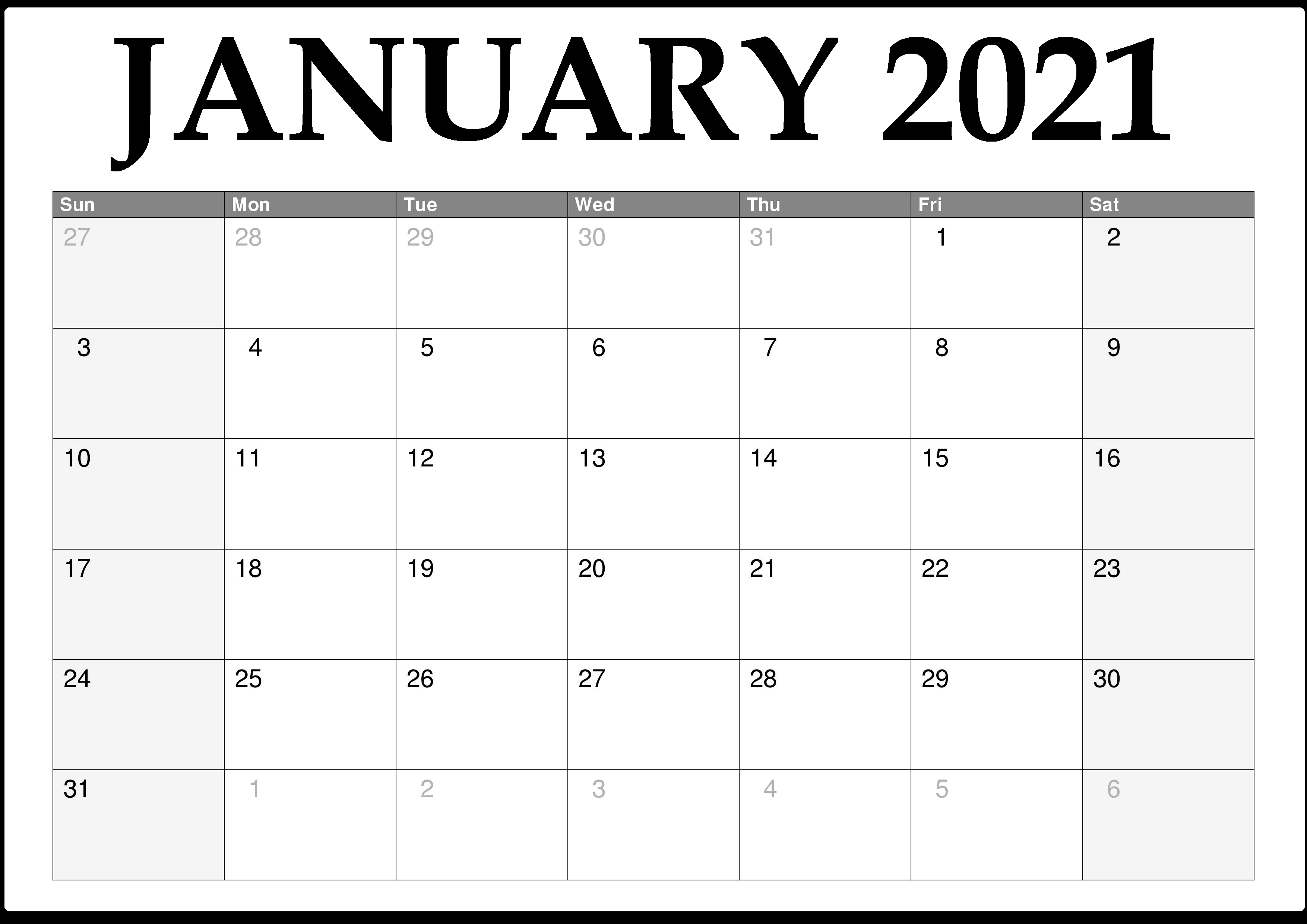 January 2021 Calendar to Print - Free Printable 2021 ...