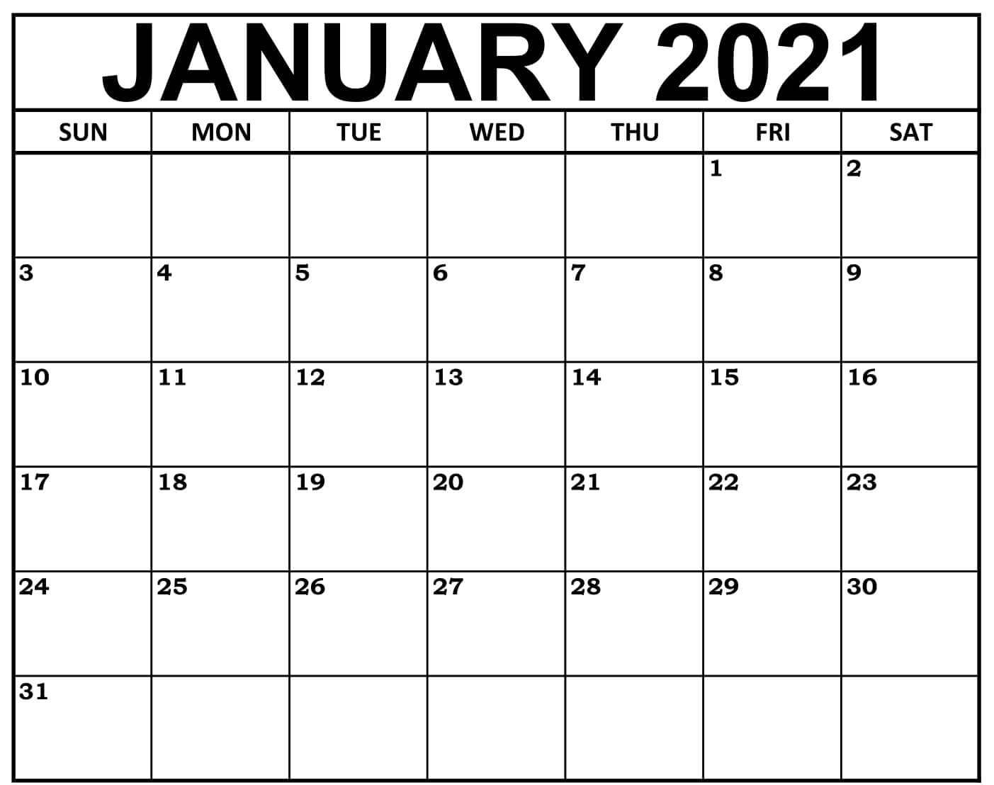 January 2021 PDF Calendar to Print - Free Printable 2021 ...