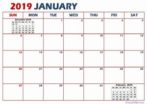 January Calendar 2019 Canada