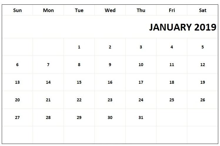 January Calendar 2019 PDF