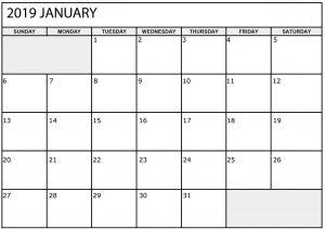 January Calendar 2019 to Print