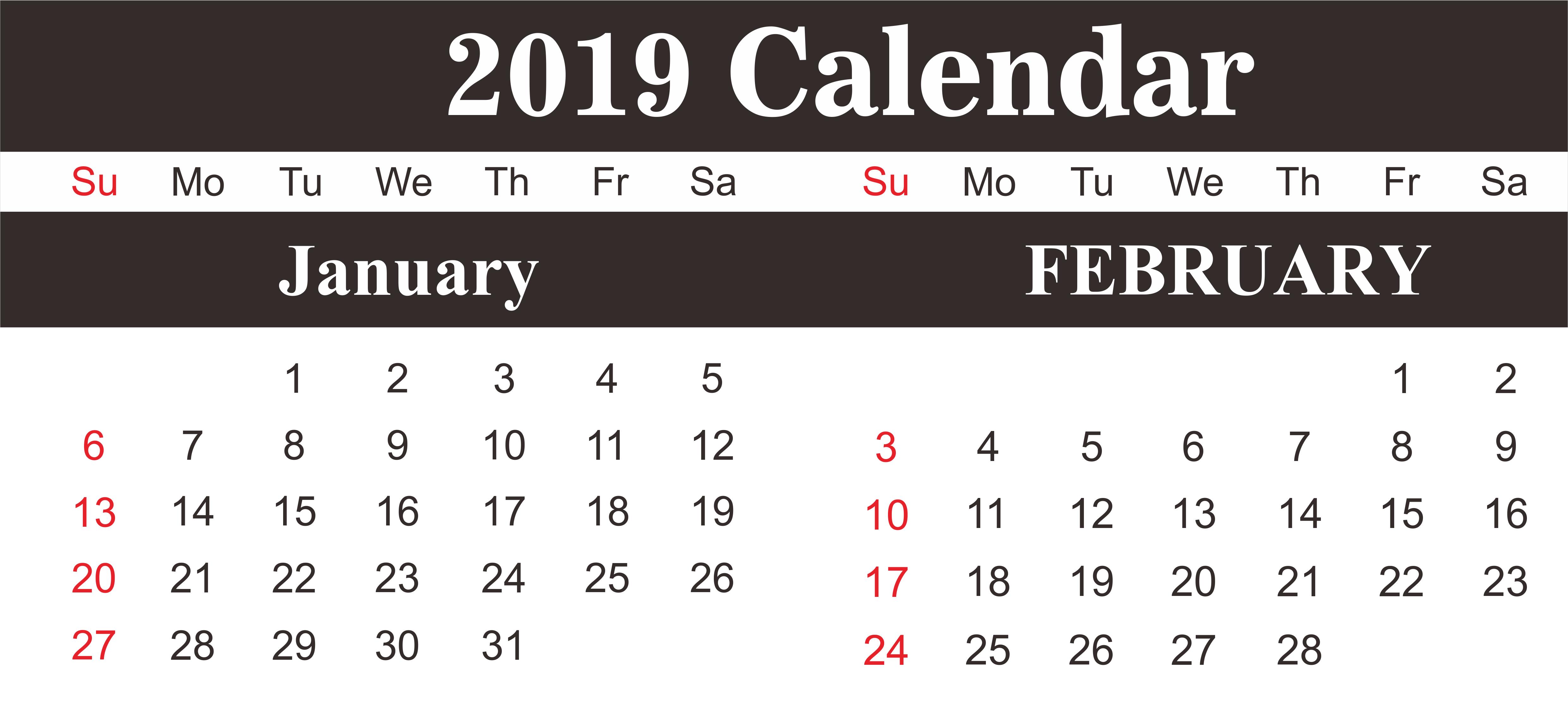 January February 2019 Calendar PDF