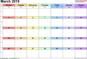 March 2019 Calendar Excel