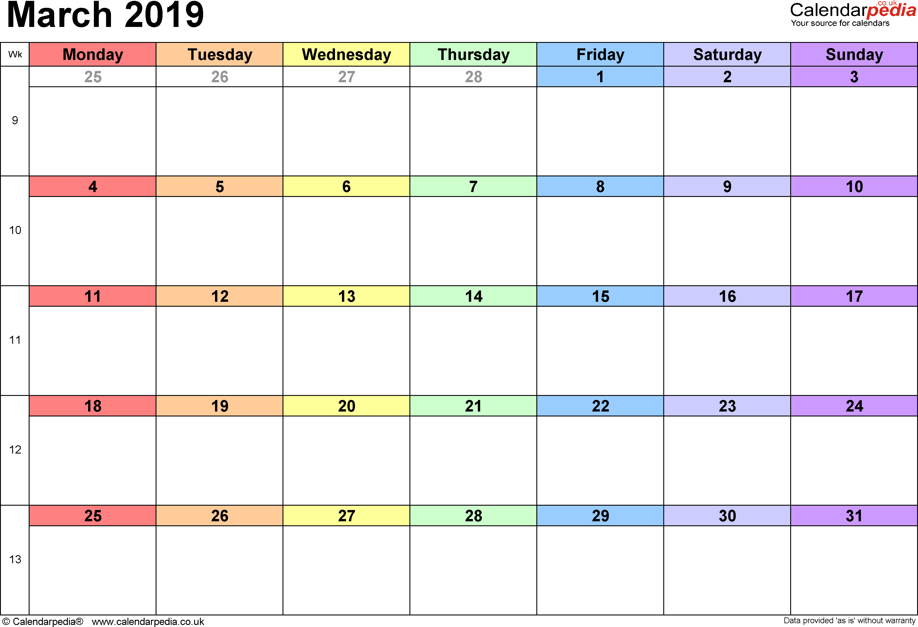 March 2019 Calendar Excel Free Printable Calendar Templates And