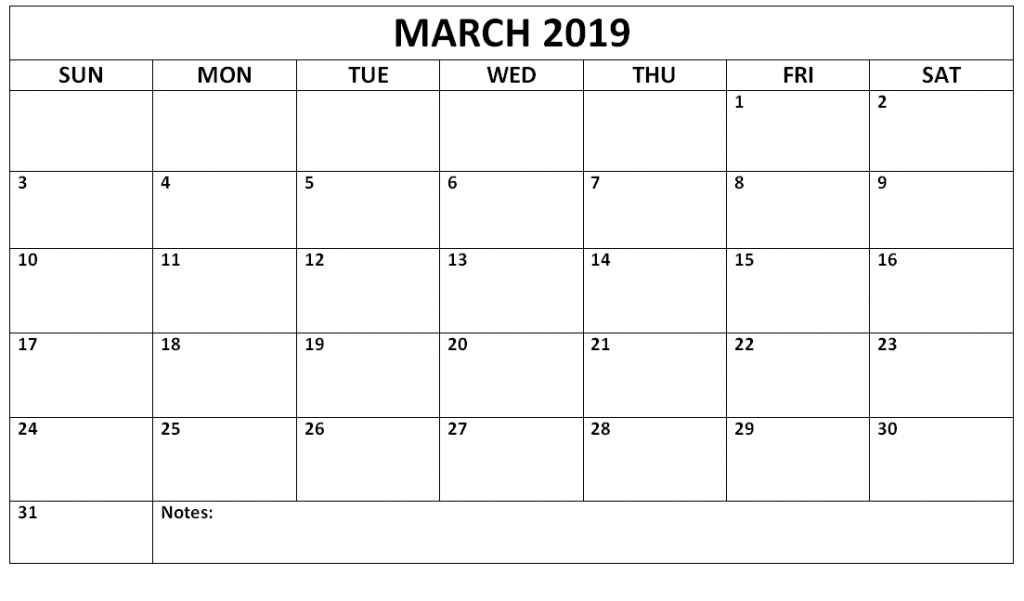 March 2019 Calendar Monthly Printable
