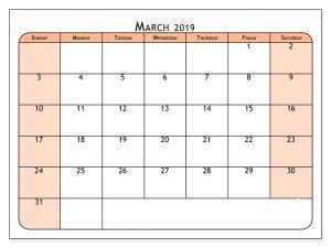March 2019 Calendar XLS