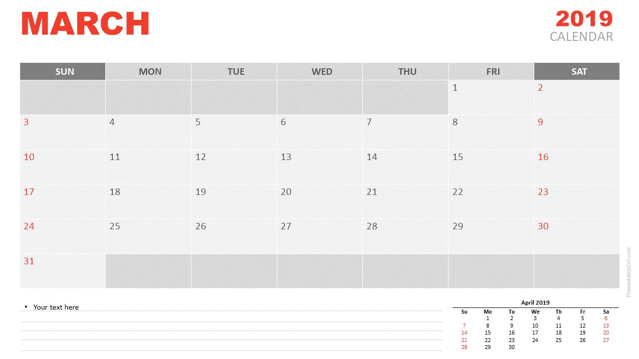 Desk Calendar March 2019
