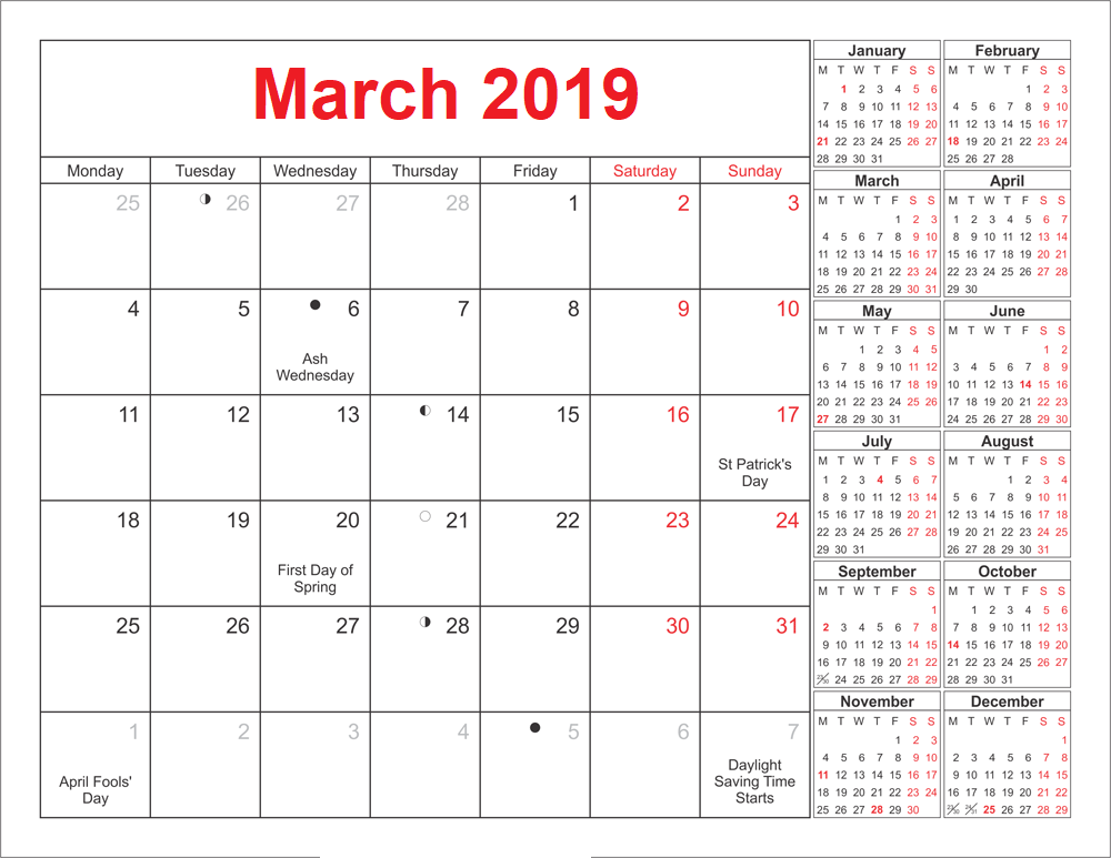 March 2019 Moon Phases Calendar With Holidays