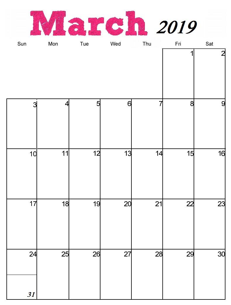 March 2019 Vertical Calendar