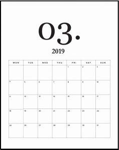 March 2019 Wall Calendar