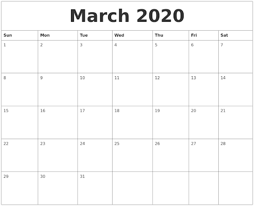 March 2020 Calendar A4 Letter Page