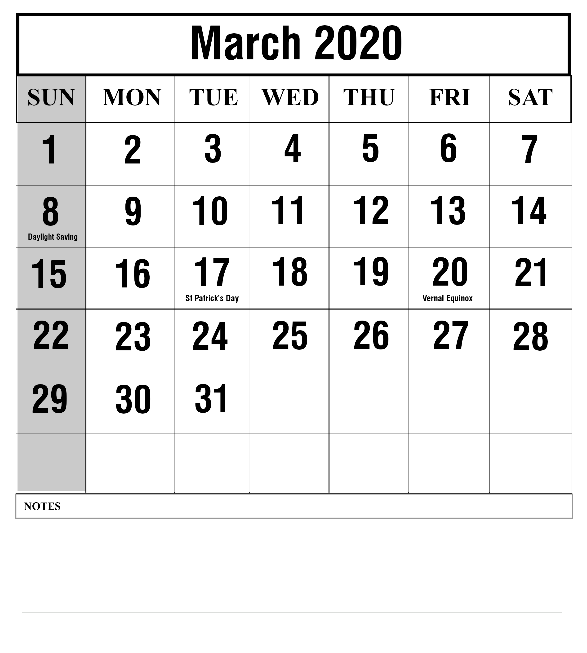 March 2020 Printable Calendar in Portrait