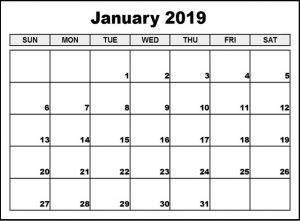 Monthly Calendar For January 2019