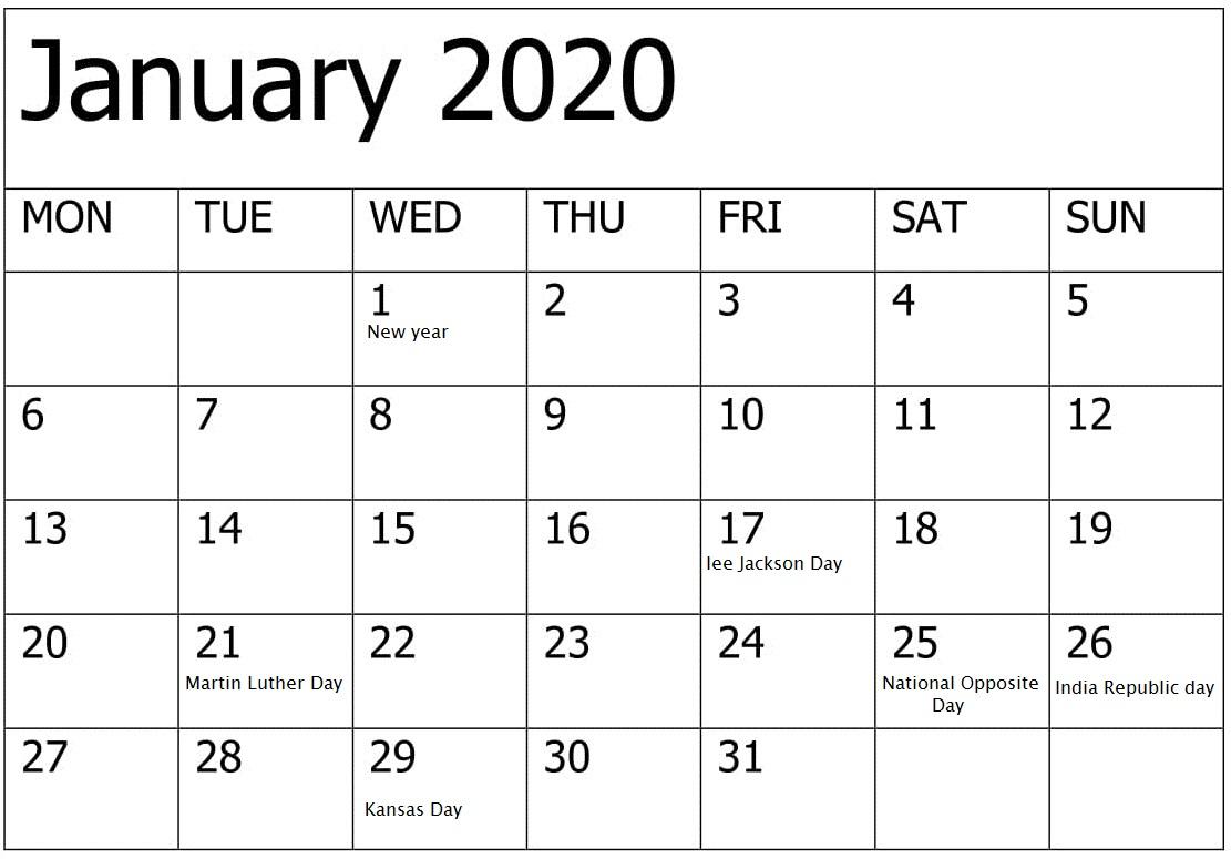 National Holidays Calendar Canada 2020