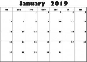 PDF Calendar January 2019