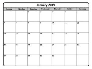Print Blank Calendar January 2019
