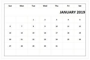 Print Calendar For January 2019