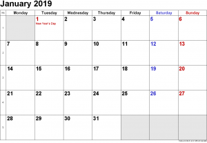 Print Free January 2019 Calendar