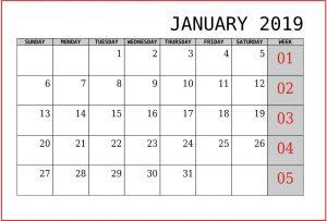 Print January 2019 Calendar Editable