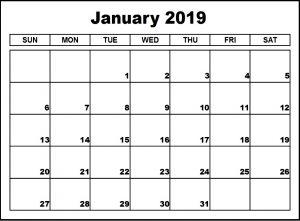 Print January 2019 Calendar Landscape Format