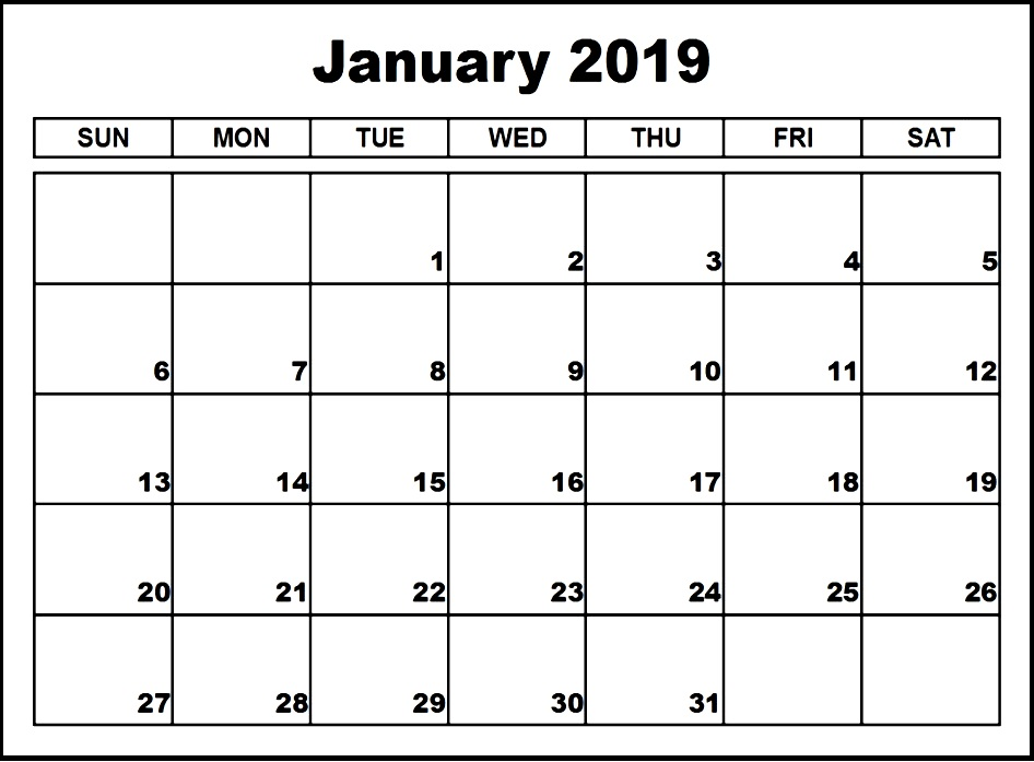 2019 Calendar Pdf January Print January 2019 Calendar PDF Word Excel Portrait and Landscape