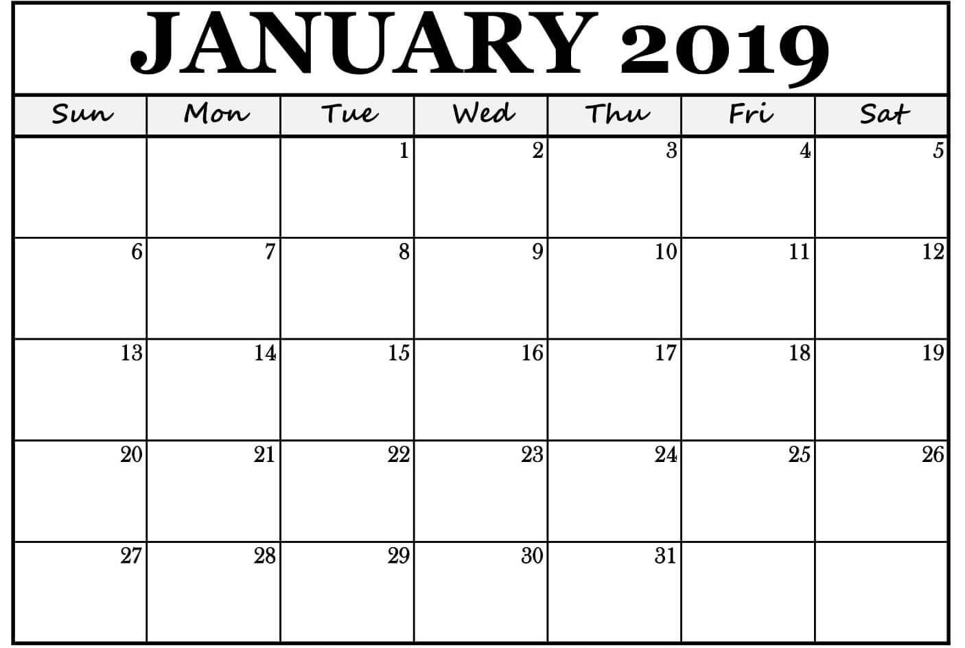 Print January 2019 Calendar PDF
