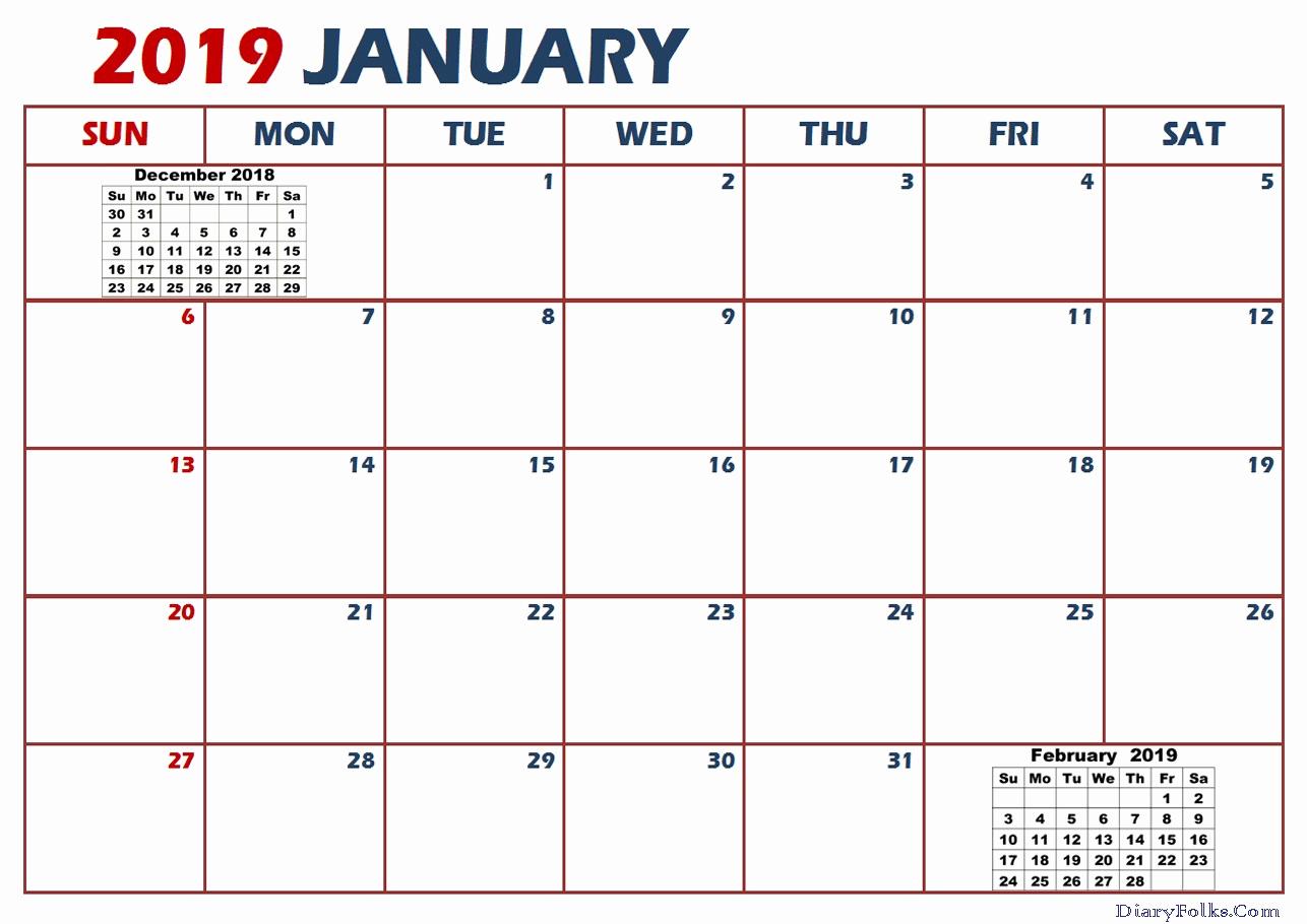 Print January 2019 Calendar Template