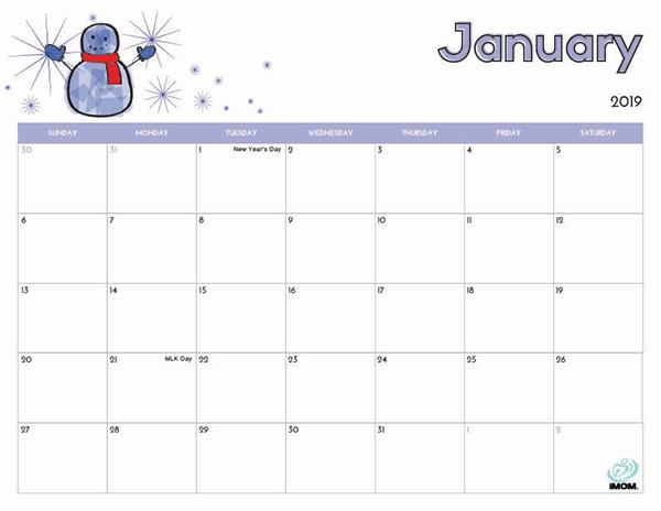 Print January 2019 Calendar With Holidays