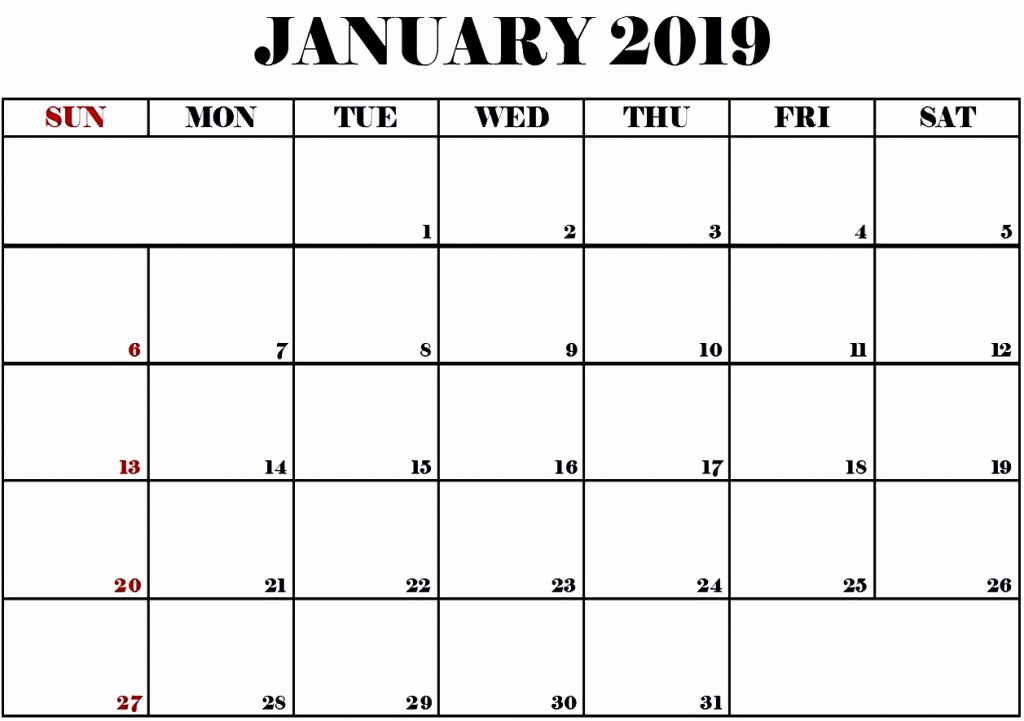 Print January 2019 Month Calendar