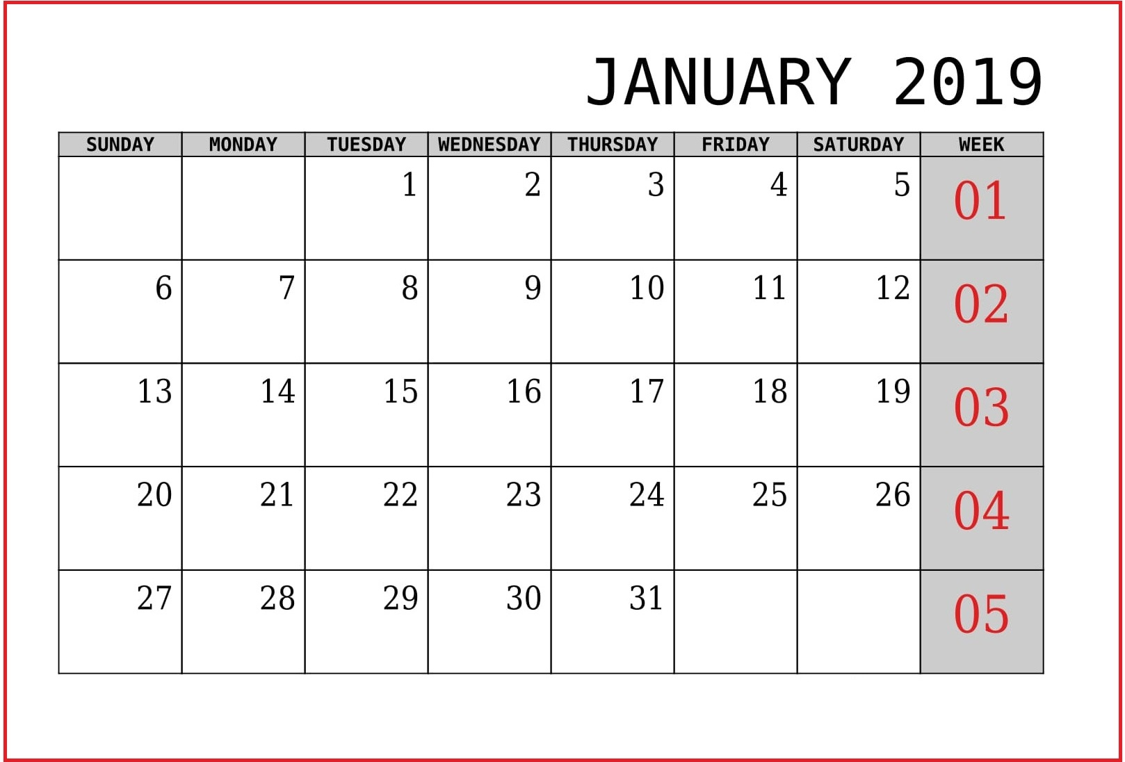Printable Calendar For January 2019