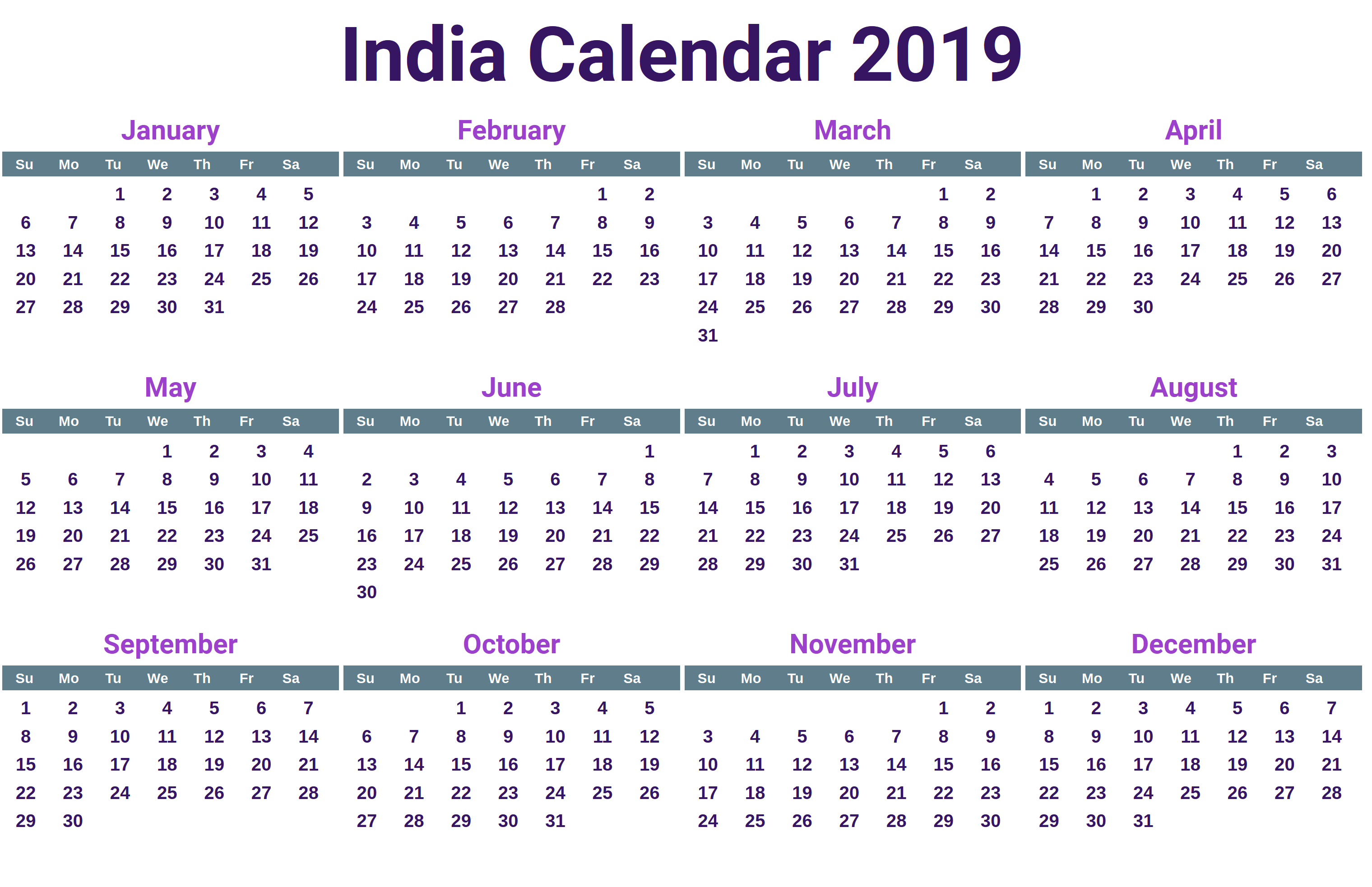 Printable 2019 Calendar Template