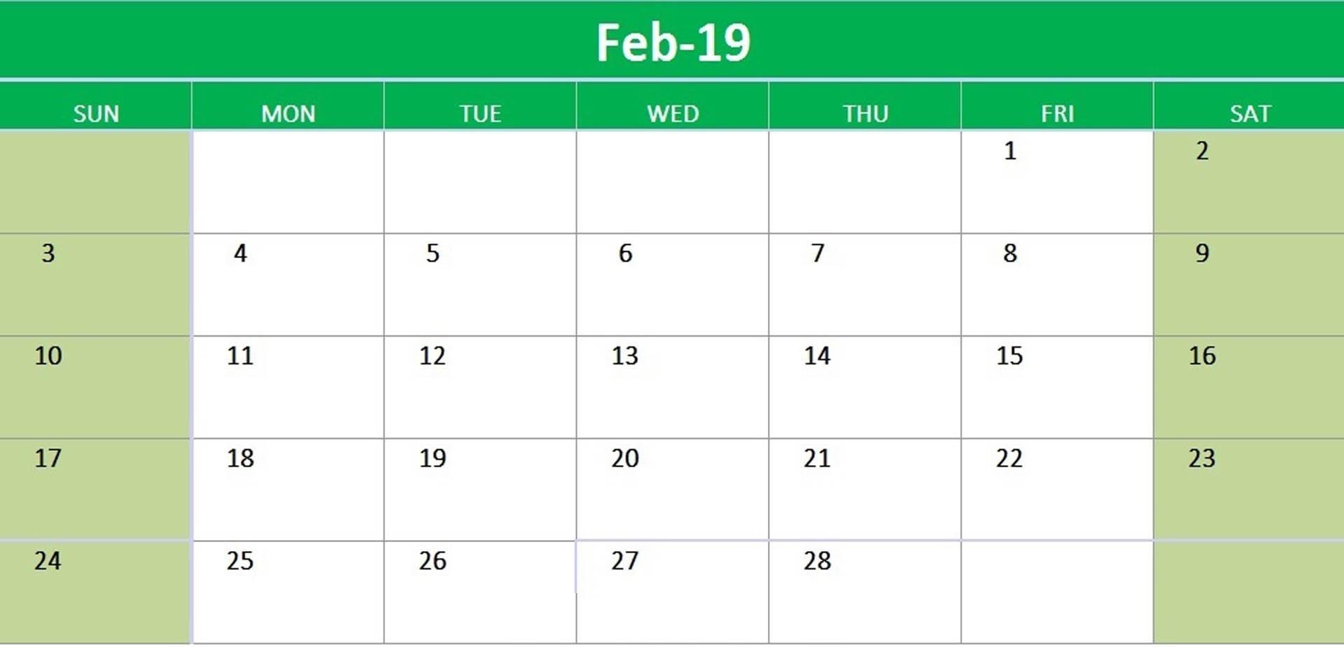Printable Calendar February 2019 Landscape