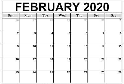 Printable Calendar February 2020 Landscape