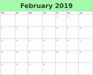 Printable February 2019 Calendar Page