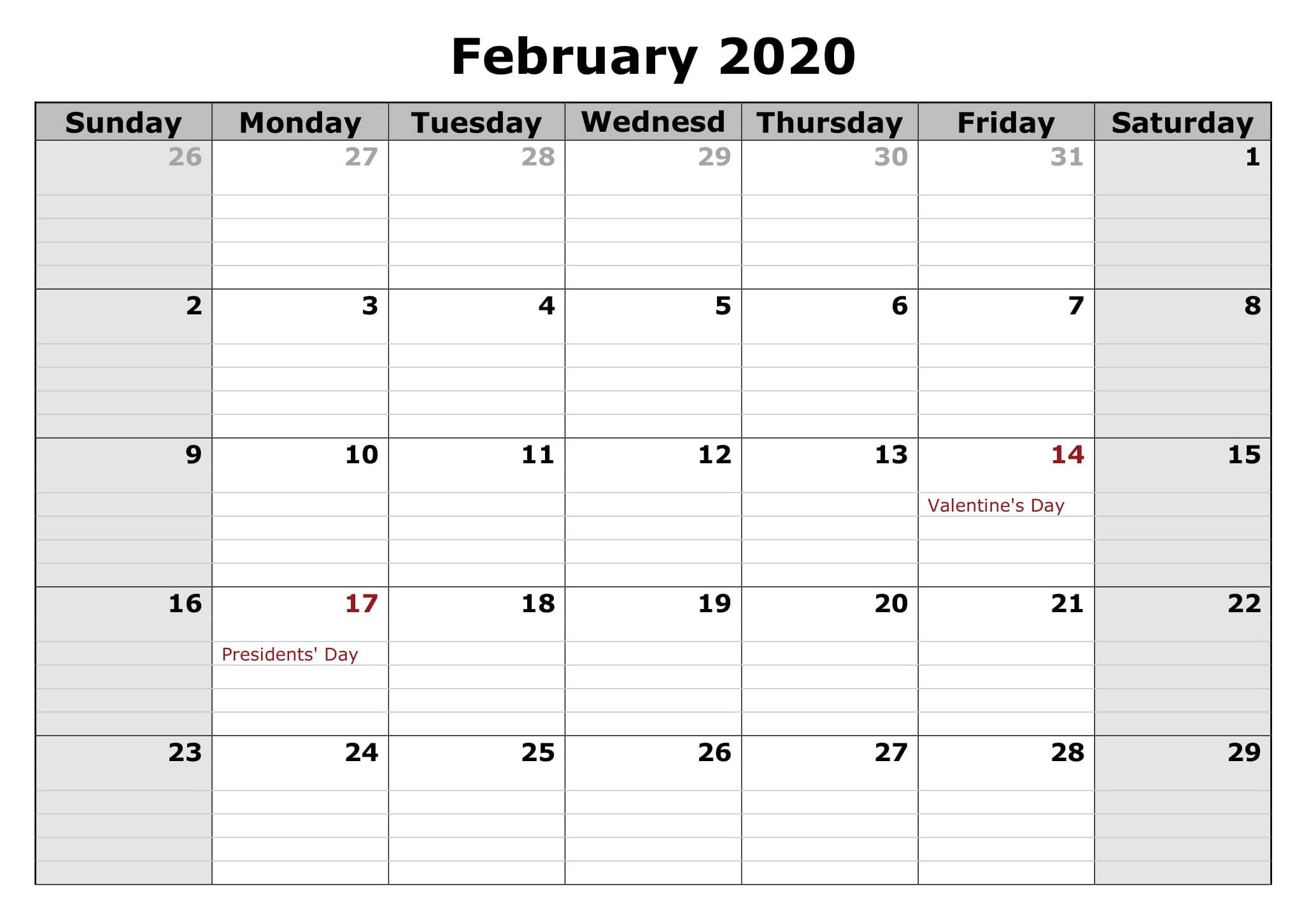 Printable Holidays Calendar February 2020