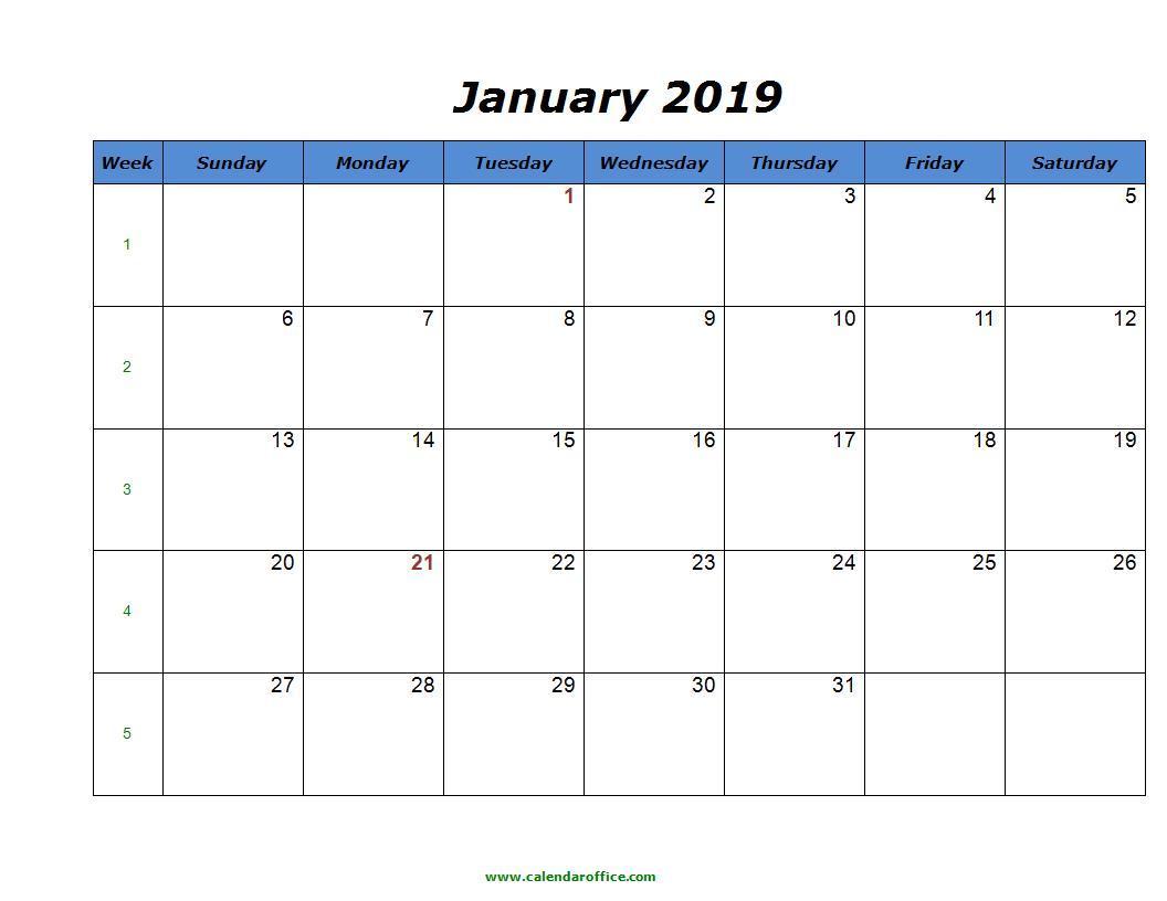 Printable January 2019 Calendar PDF