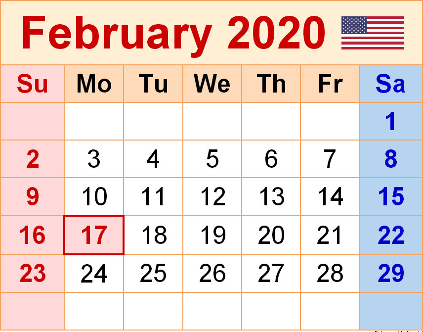 USA Holidays Calendar February 2020