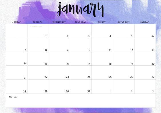 Wall Calendar For January 2019