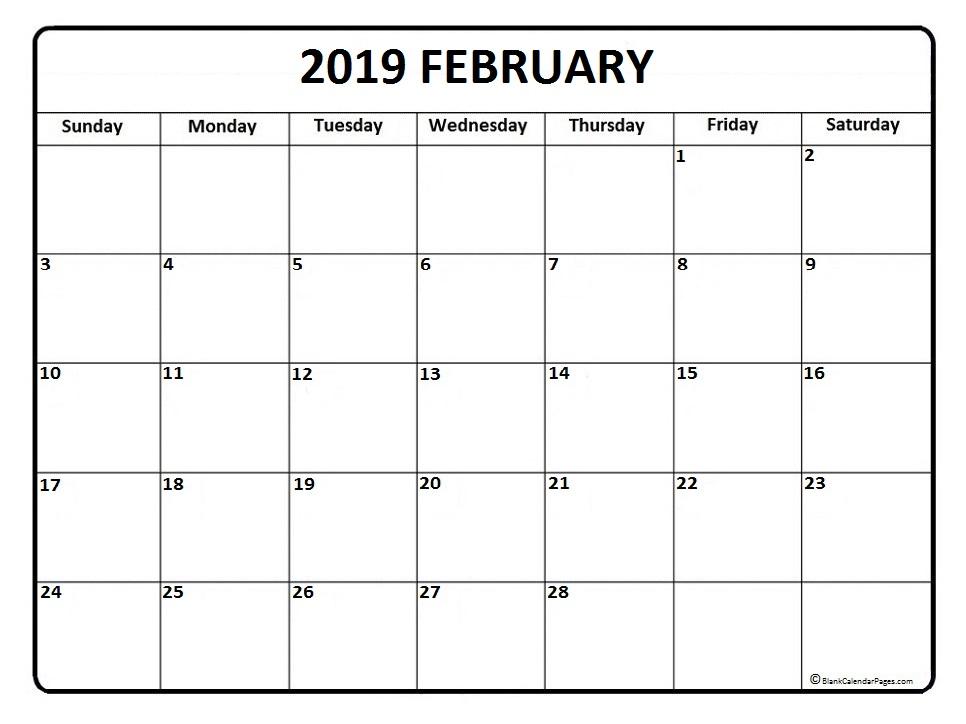 2019 Feb Calendar