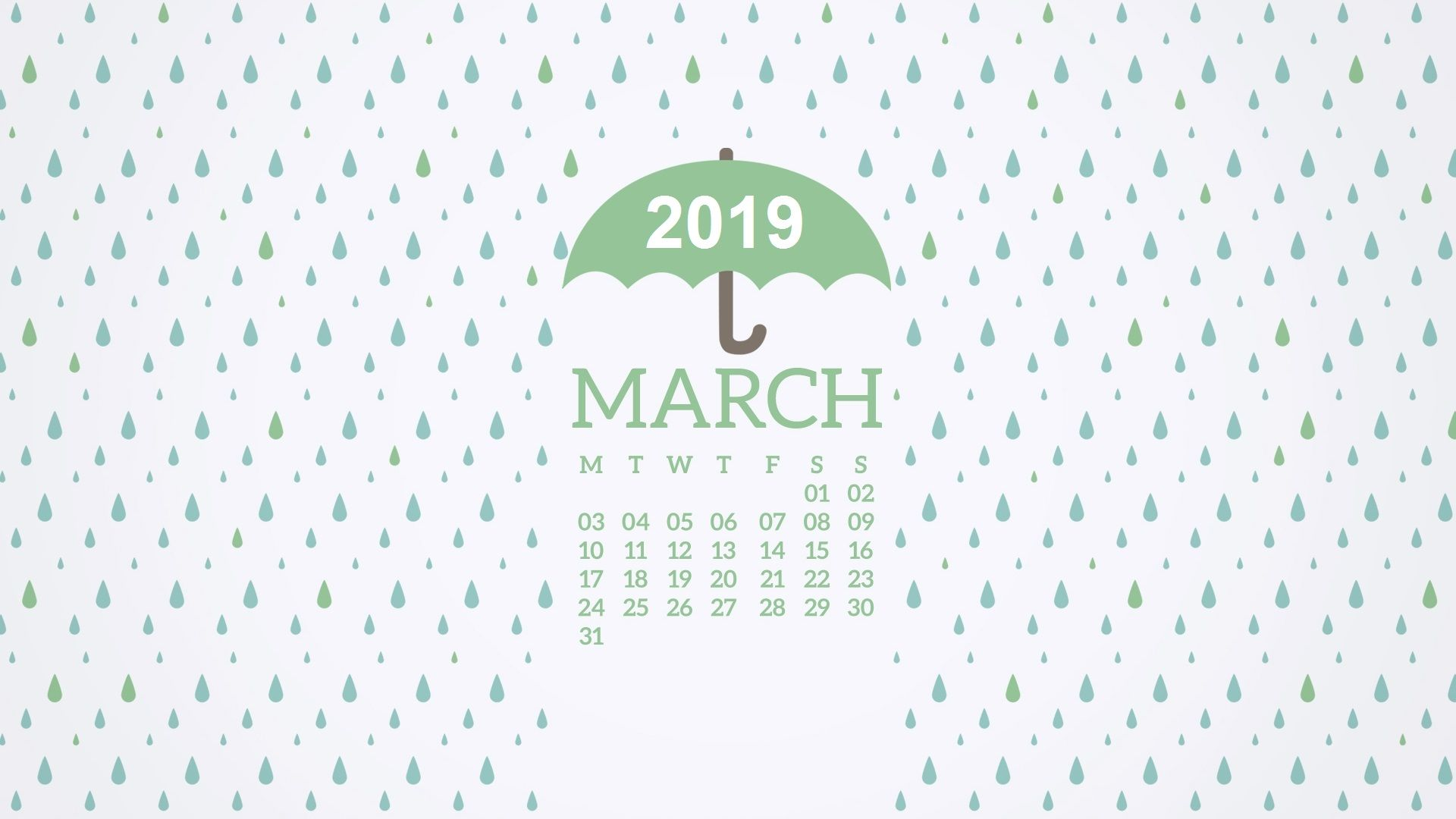 2019 March Desktop Calendar