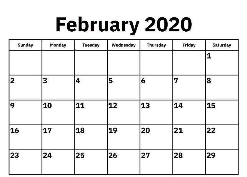 2020 Feb Calendar
