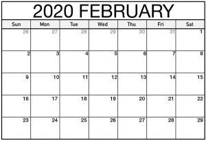 2020 February Blank Calendar
