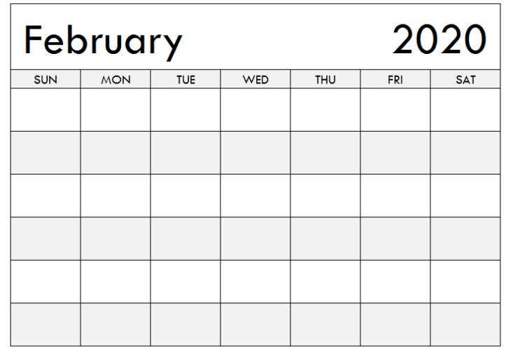 2020 February Calendar Blank Printable