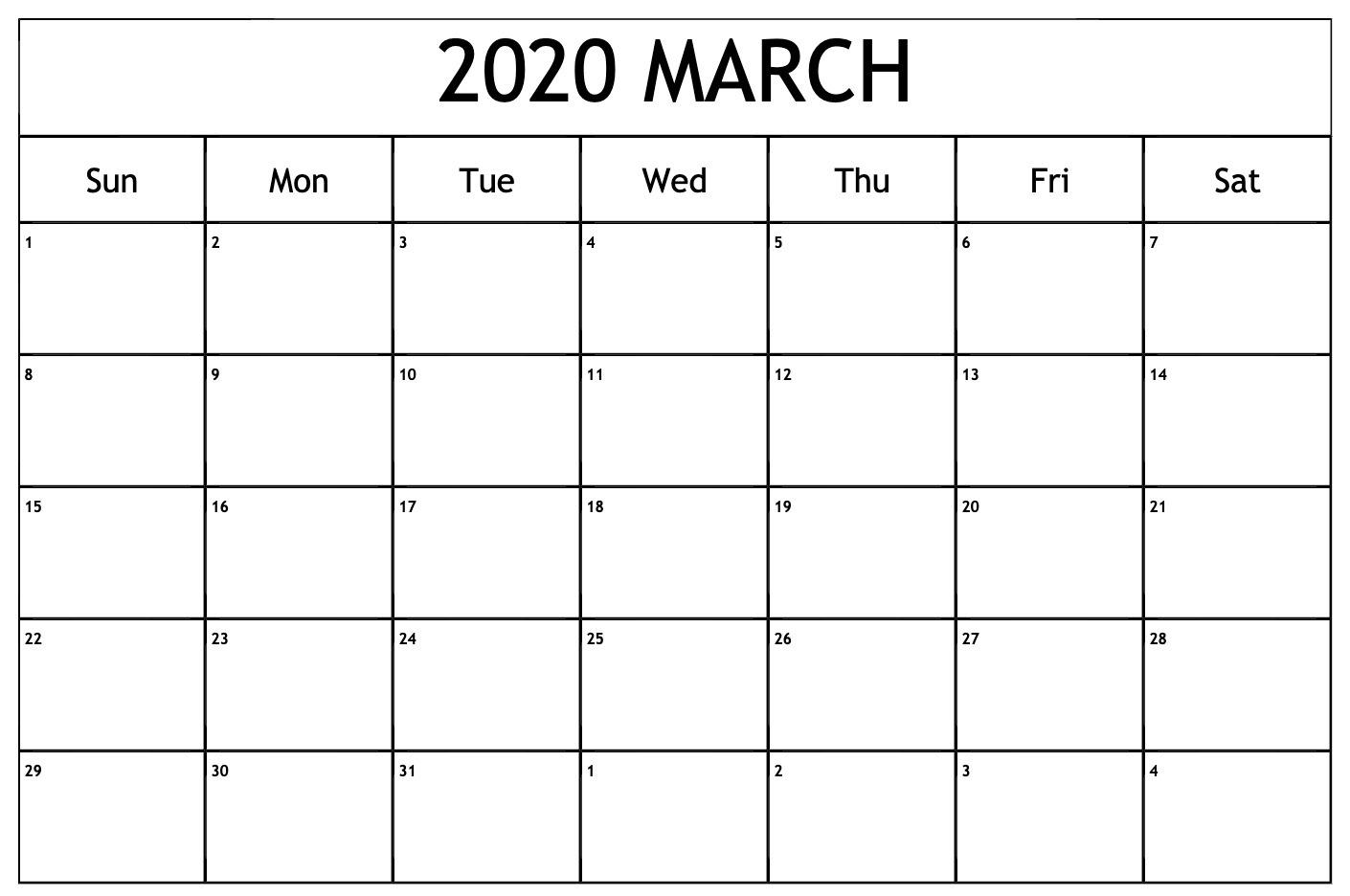 2020 March Blank Calendar