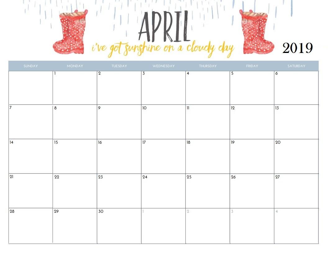 April Printable Calendar 2019