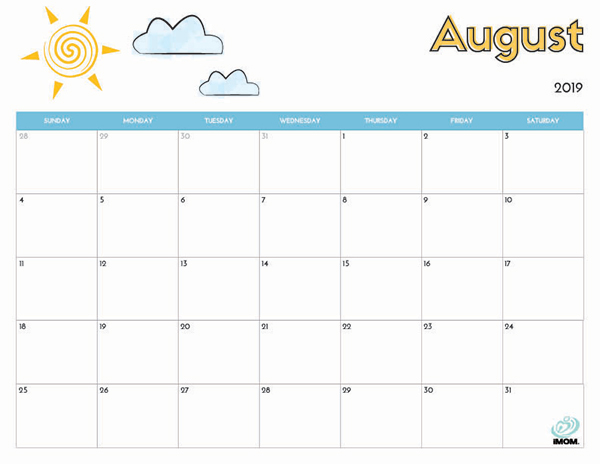graphic regarding Printable Calendar Aug referred to as August Printable Calendar 2019 - Cost-free Printable Calendar