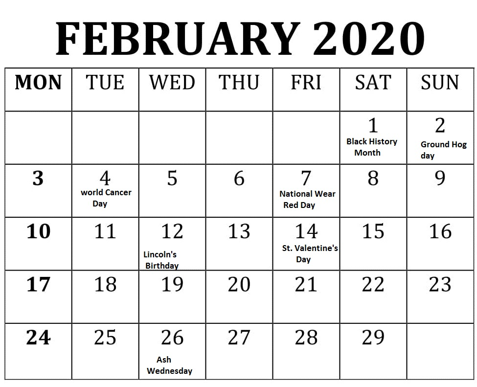 Bank Holidays Calendar February 2020