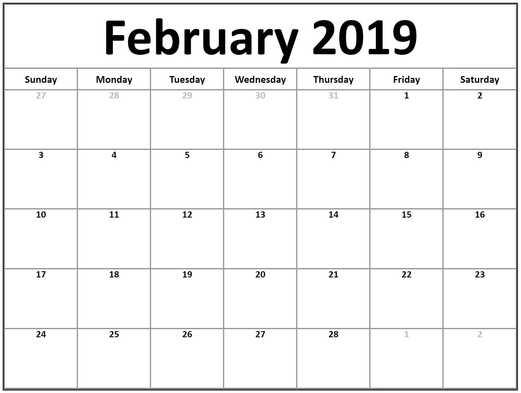 February 2019 Free Printable Weekly Calendar Blank Calendar February 2019   Free Printable Calendar, Templates