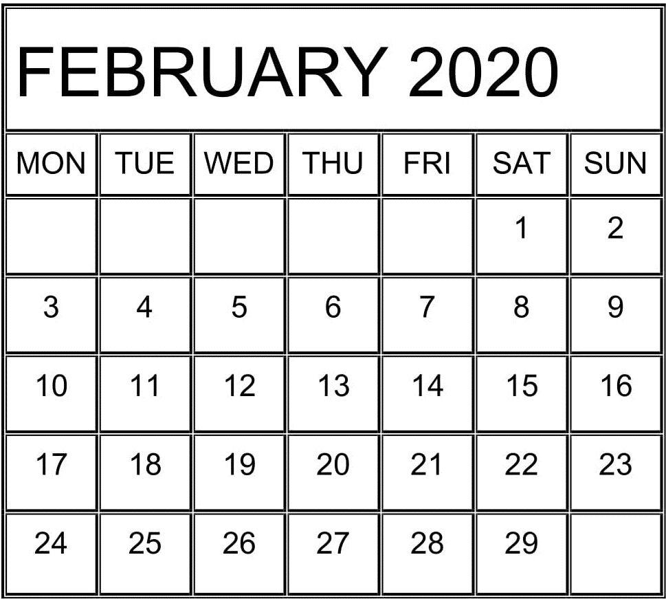 Blank Calendar February 2020 Editable