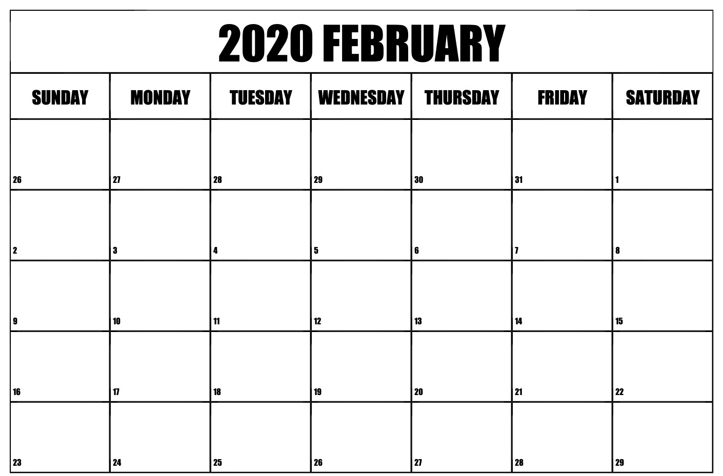 Blank Calendar February 2020 PDF